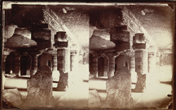 Interior from left end of front aisle of Buddhist vihara, Cave XXI, Ajanta